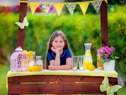 Young girl at her lemonade stand